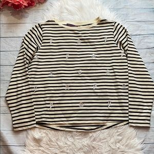 Betsey Johnson Striped Skull & Lighting Pullover